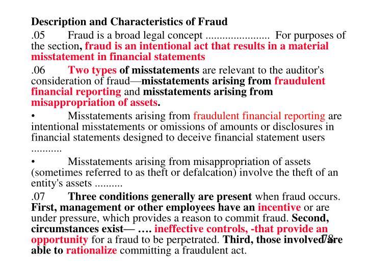 Description and Characteristics of Fraud