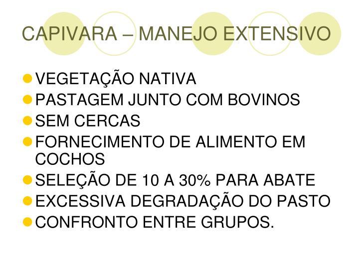 CAPIVARA – MANEJO EXTENSIVO