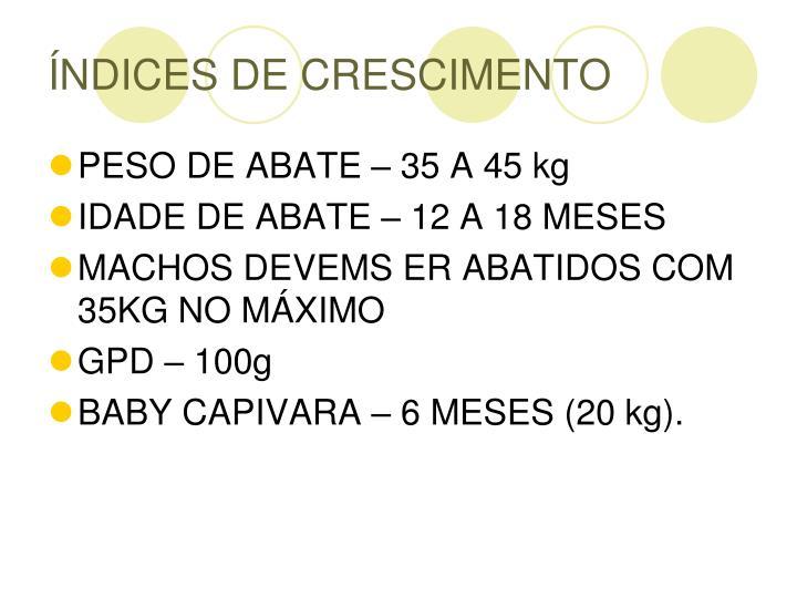 ÍNDICES DE CRESCIMENTO