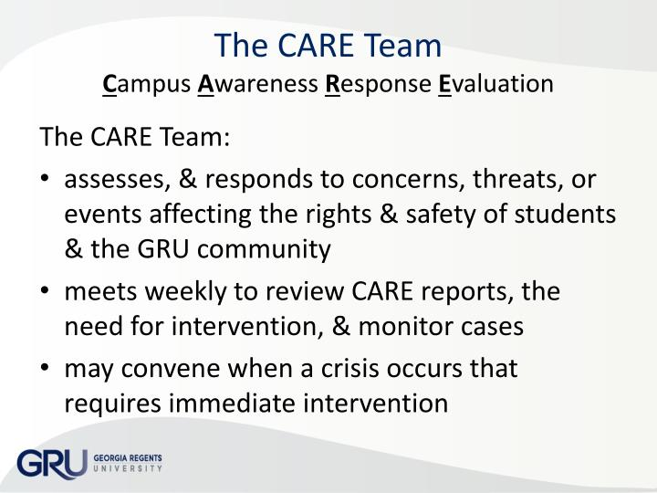 The care team c ampus a wareness r esponse e valuation