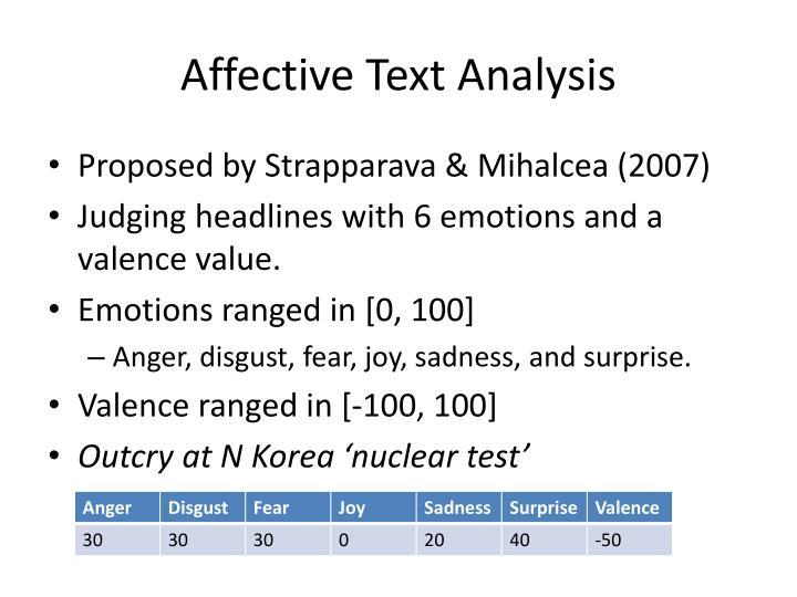 Affective Text Analysis