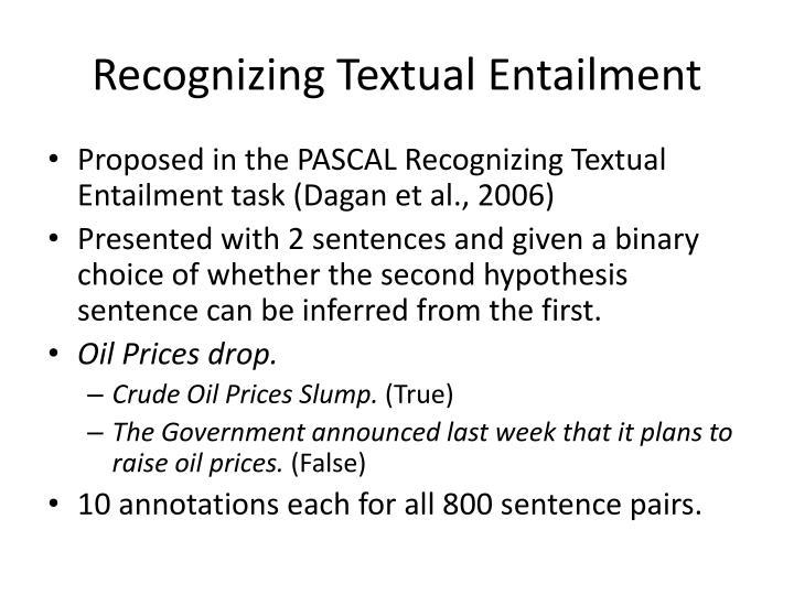 Recognizing Textual Entailment