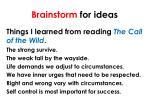 brainstorm for ideas