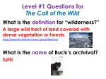 level 1 questions for the call of the wild