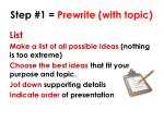 step 1 prewrite with topic