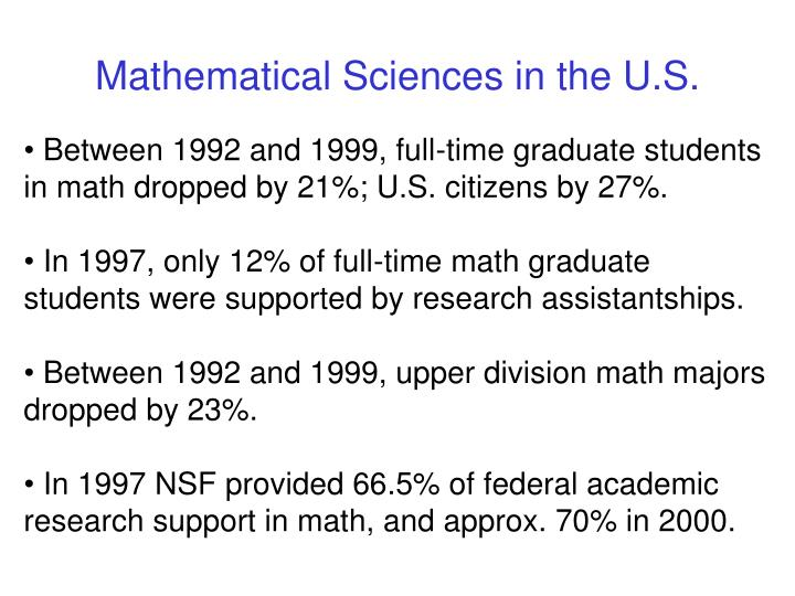 Mathematical Sciences in the U.S.