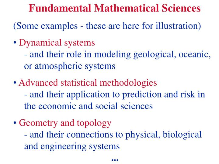 Fundamental Mathematical Sciences