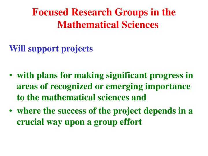 Focused Research Groups in the Mathematical Sciences