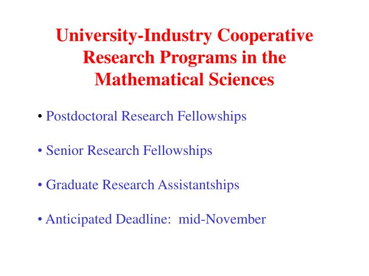 University-Industry Cooperative Research Programs in the Mathematical Sciences