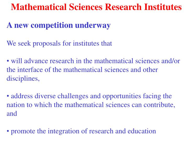 Mathematical Sciences Research Institutes