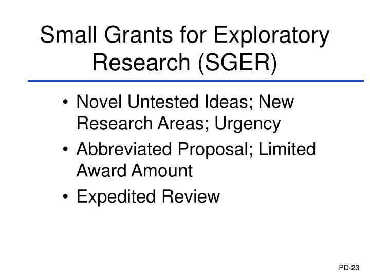 Small Grants for Exploratory