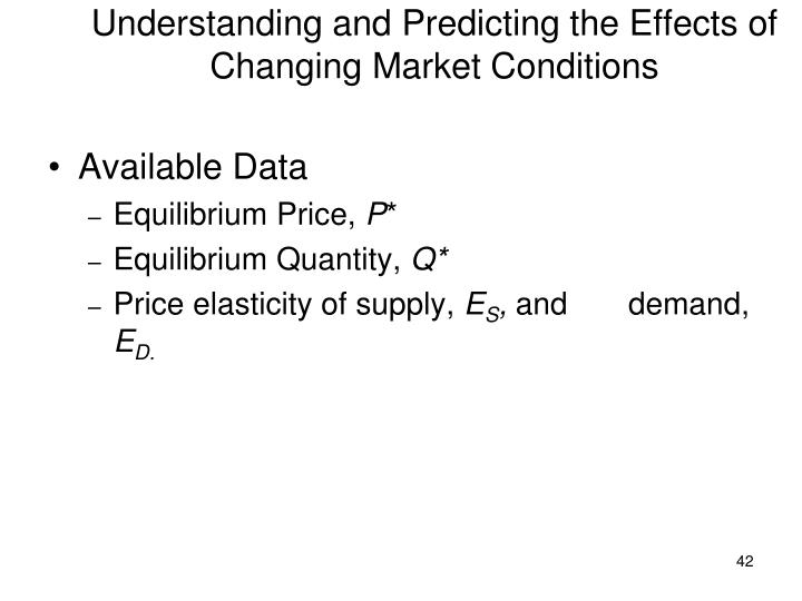 Understanding and Predicting the Effects of Changing Market Conditions