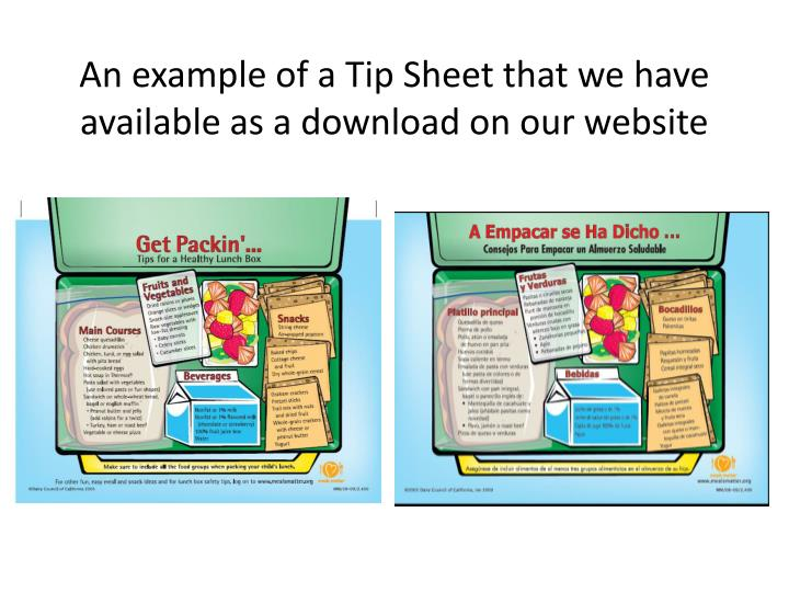 An example of a Tip Sheet that we have available as a download on our website