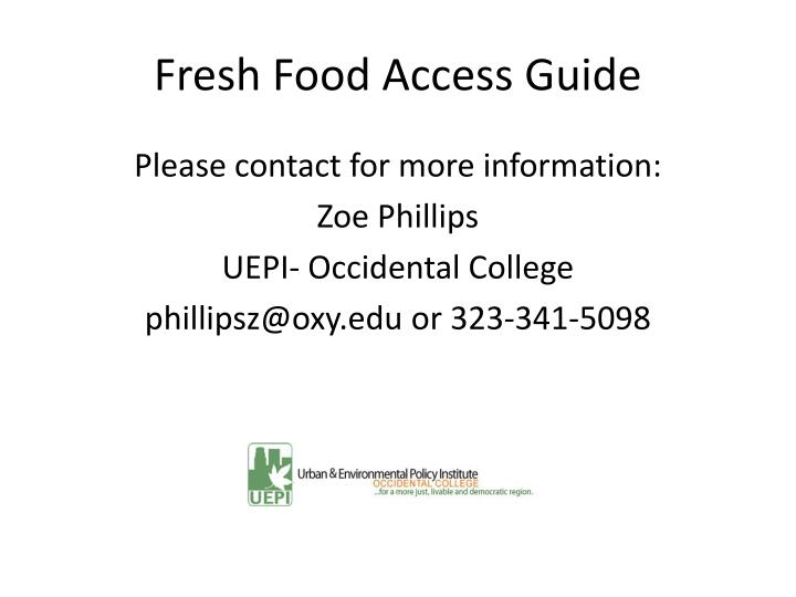 Fresh Food Access Guide