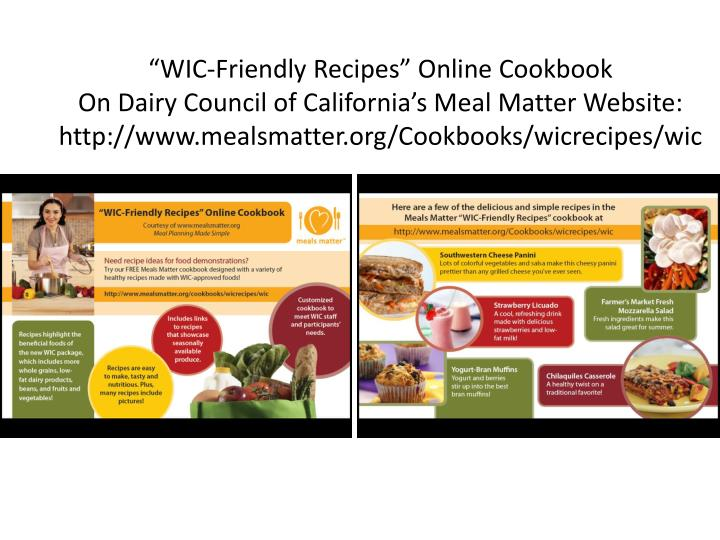 """WIC-Friendly Recipes"" Online Cookbook"