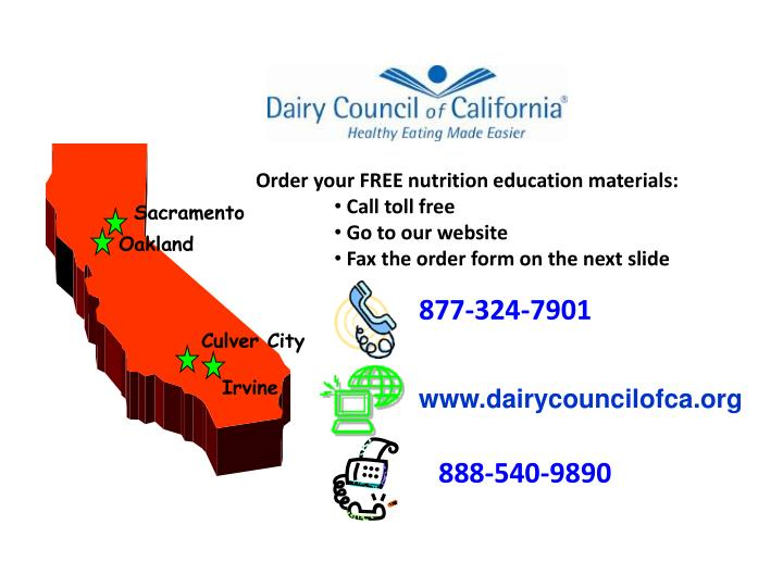 Order your FREE nutrition education materials: