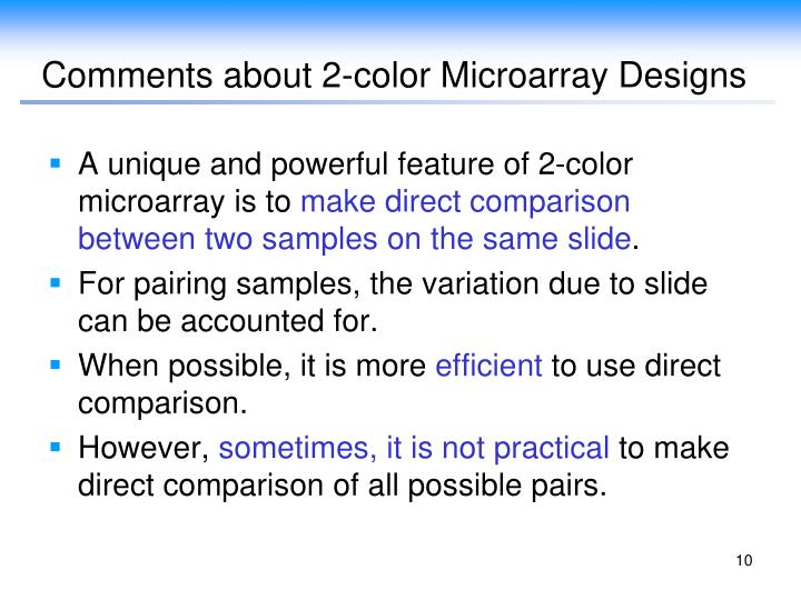 Comments about 2-color Microarray Designs