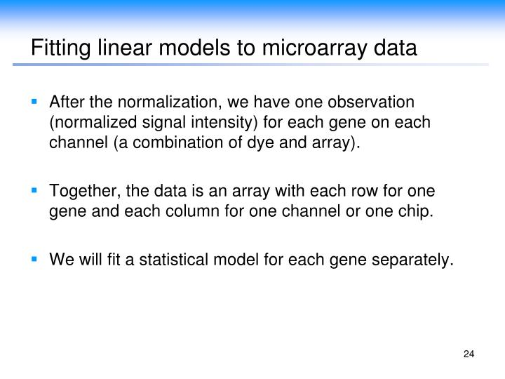 Fitting linear models to microarray data