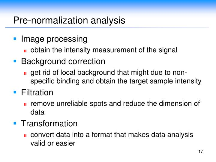 Pre-normalization analysis