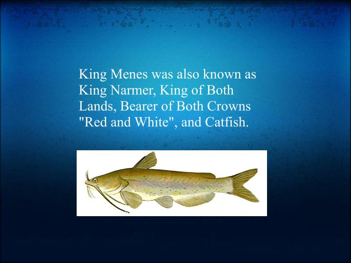"King Menes was also known as King Narmer, King of Both Lands, Bearer of Both Crowns ""Red and White"", and Catfish."