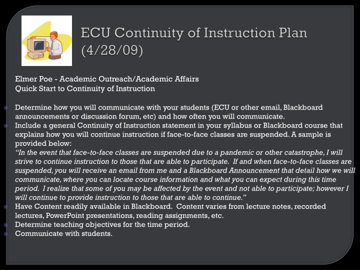 ECU Continuity of Instruction Plan (4/28/09)