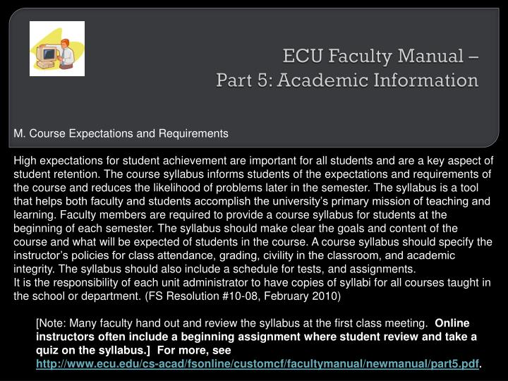Ecu faculty manual part 5 academic information