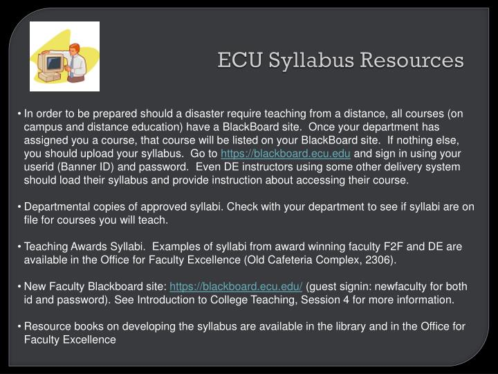 ECU Syllabus Resources