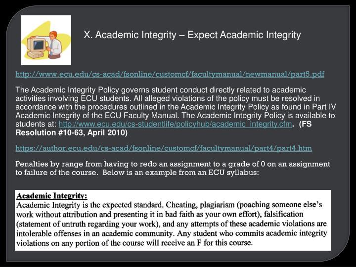 X. Academic Integrity – Expect Academic Integrity