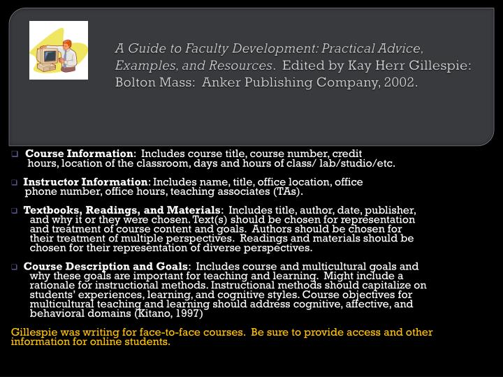 A Guide to Faculty Development: Practical Advice, Examples, and Resources