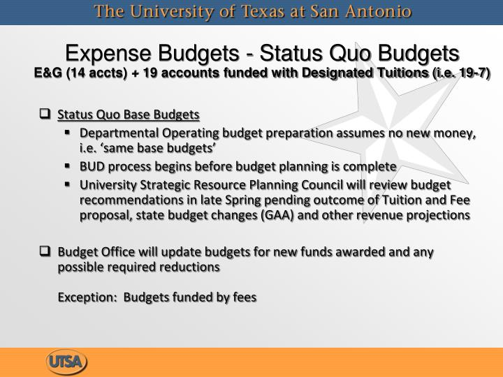 Expense Budgets - Status Quo Budgets
