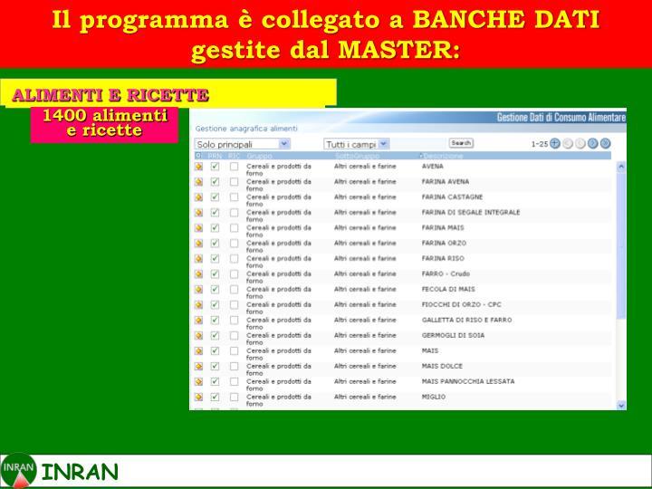 Il programma è collegato a BANCHE DATI gestite dal MASTER: