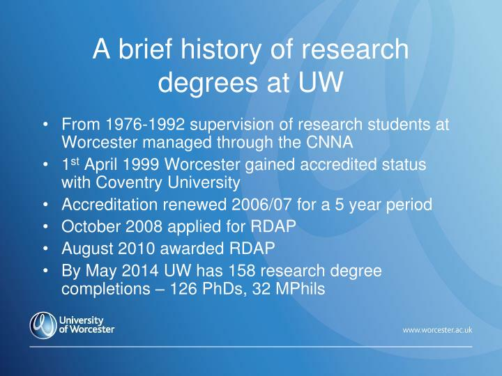 A brief history of research degrees at UW