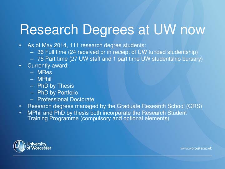 Research Degrees at UW now