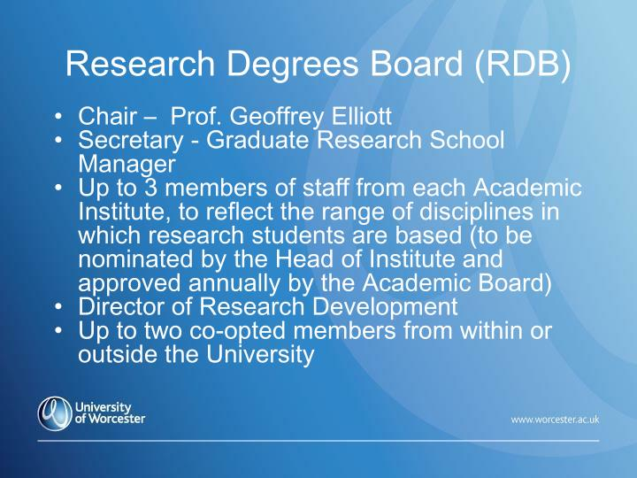 Research Degrees Board (RDB)