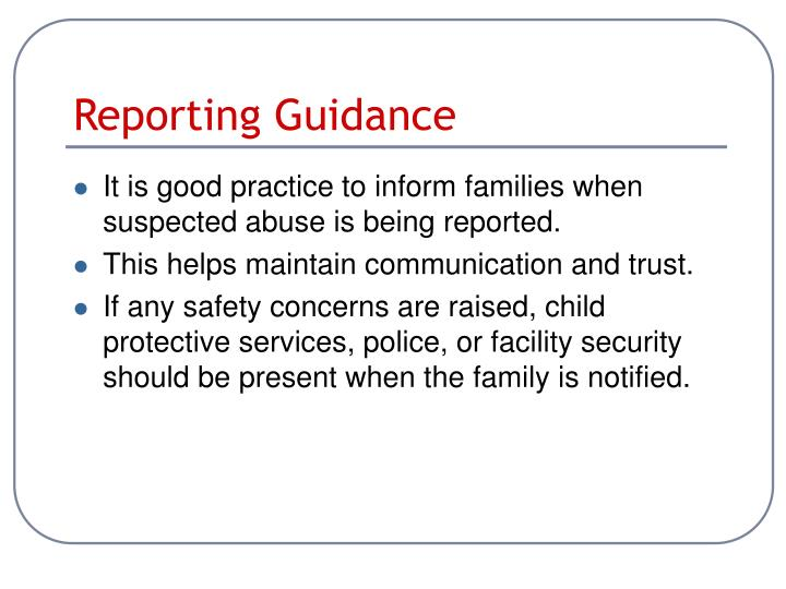 Reporting Guidance
