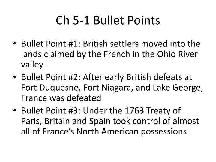 Ch 5 1 bullet points