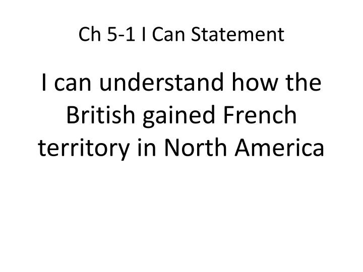 Ch 5 1 i can statement