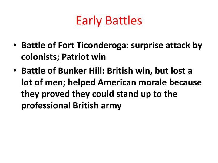 Early Battles