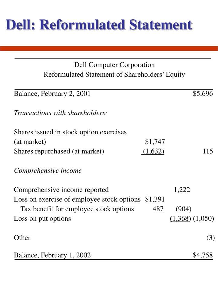 Dell: Reformulated Statement