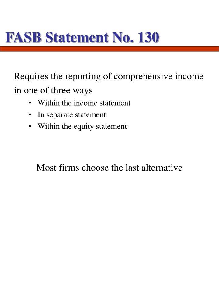 FASB Statement No. 130