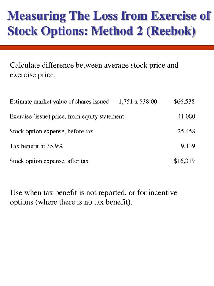 Measuring The Loss from Exercise of Stock Options: Method 2 (Reebok)