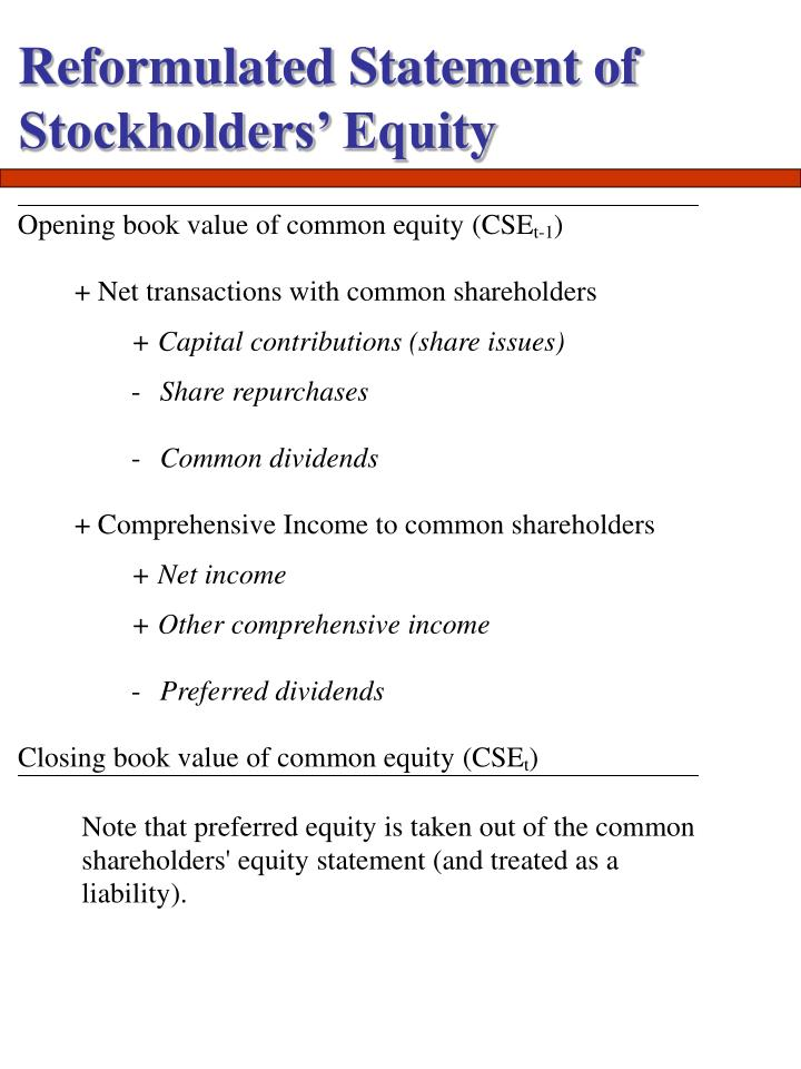 Reformulated Statement of Stockholders' Equity