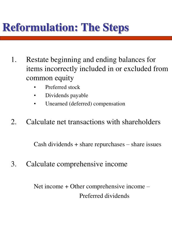 Reformulation: The Steps