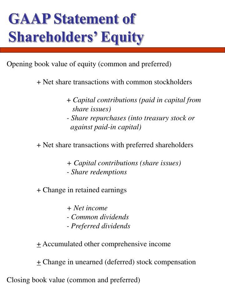 GAAP Statement of Shareholders' Equity