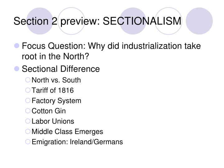 Section 2 preview: SECTIONALISM