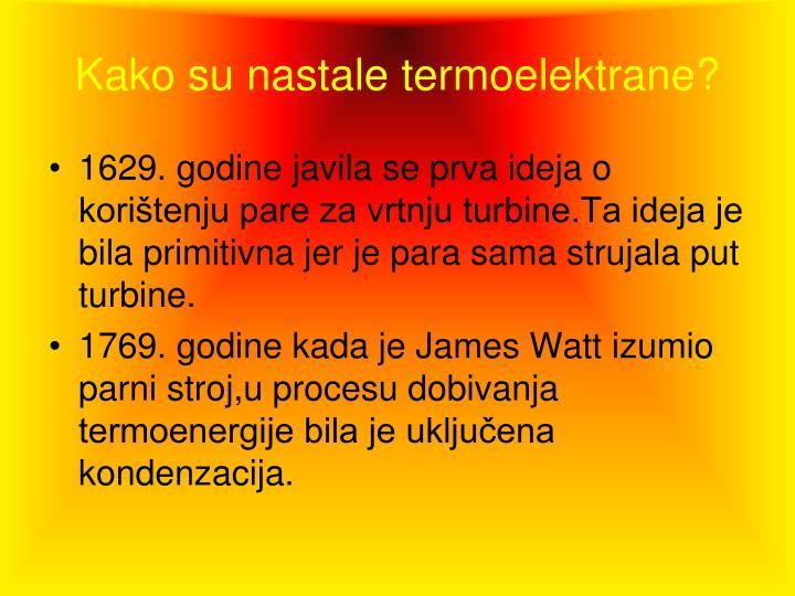 Kako su nastale termoelektrane?