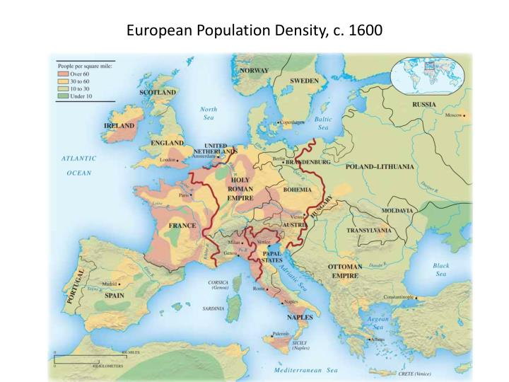 European Population Density, c. 1600