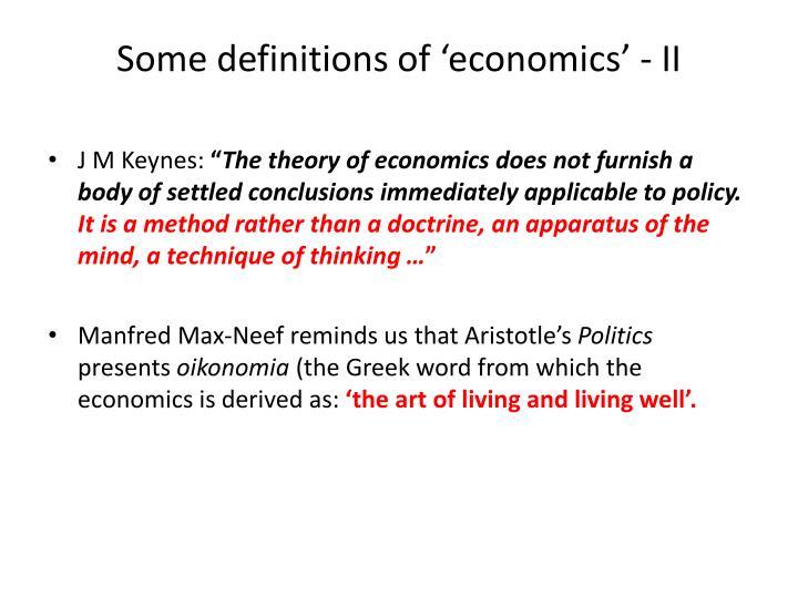 Some definitions of 'economics' - II