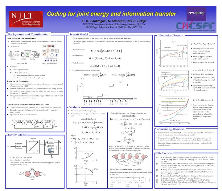 Coding for joint energy and information