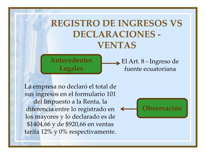 REGISTRO DE INGRESOS VS DECLARACIONES -